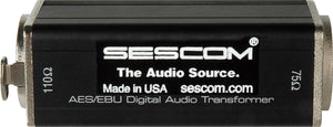 Sescom SES-AES-EBU-1 BNC Female to XLR-Female Impedance Transformer Made in USA.