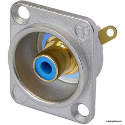 Neutrik NF2D-6 Phono RCA Socket - Nickel Panel D-shape w/Colored Washer - Blue