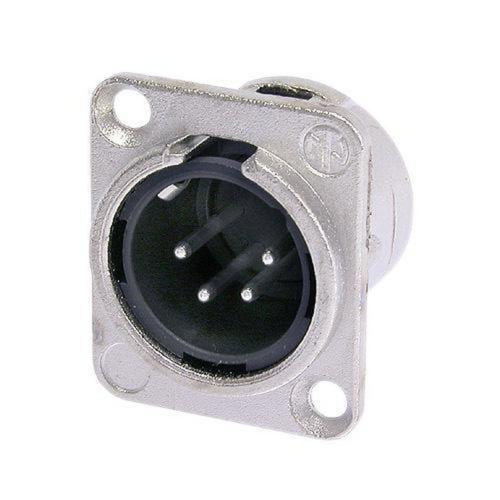 Neutrik NC4MD-L-1 XLR 4-Pin Male Chassis Panel Mount/Nickel Case Silver Contacts