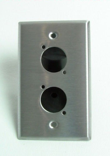 (One) Stainless Wall Plate Pre-Punched for 2 XLR (D Series) Connectors.