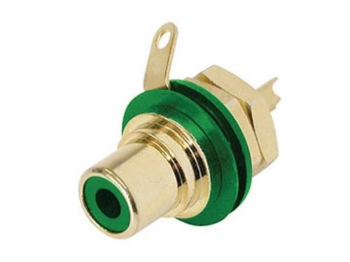 Neutrik Rean NYS367-5 Gold Plated Phono RCA Chassis Mount Female Socket, Green