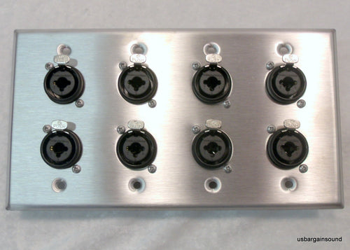 Stainless Steel Wall Plate with Eight Neutrik NCJ6FI-S Combo XLR/1/4