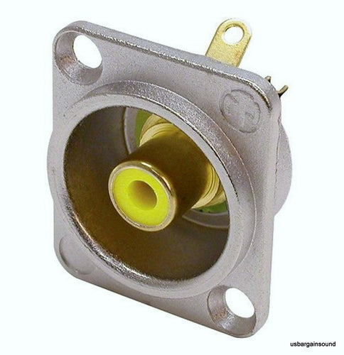 Neutrik NF2D-4 Phono RCA Socket - Nickel Panel D-shape w/Colored Washer - Yellow