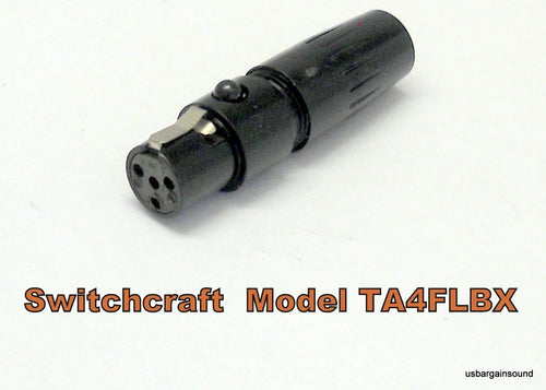 Switchcraft TA4FLBX Large Flex Tini-QG Mini XLR 4 Pin Female Cable Mount - Black