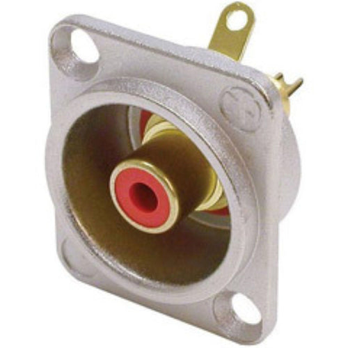 Neutrik NF2D-2 Phono RCA Socket - Nickel Panel D-shape w/Colored Washer - Red