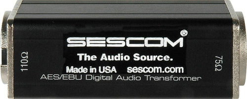 Sescom SES-AES-EBU-2 BNC Female to XLR-M AES/EBU Impedance Transformer Made USA.