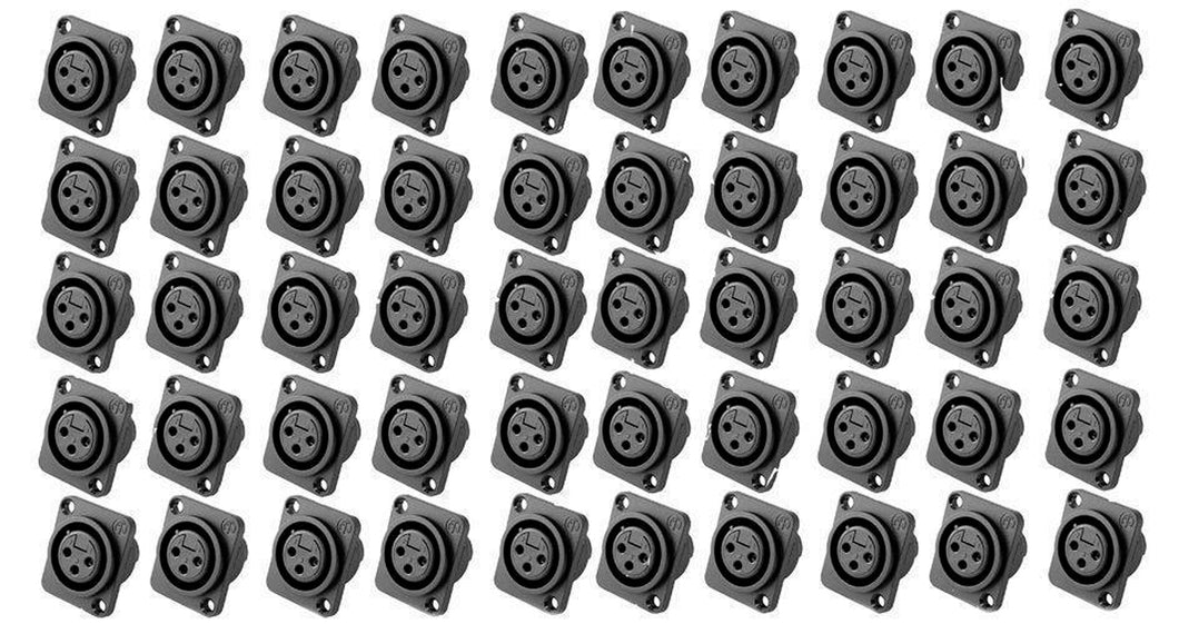 50 Pack Genuine Neutrik NC3FPP Female 3-Pin Mic XLR Panel Mount NonLatching