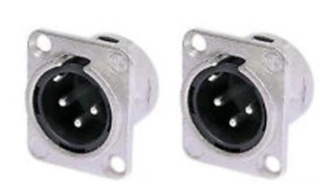 2 Pack- Neutrik NC3MD-L-1  3 Pole Male XLR Panel Connector Nickel Silver Contact