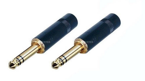 2 - Neutrik Rean NYS228BG 1/4 Inch Stereo TRS Plug. Black Handle Gold Contact