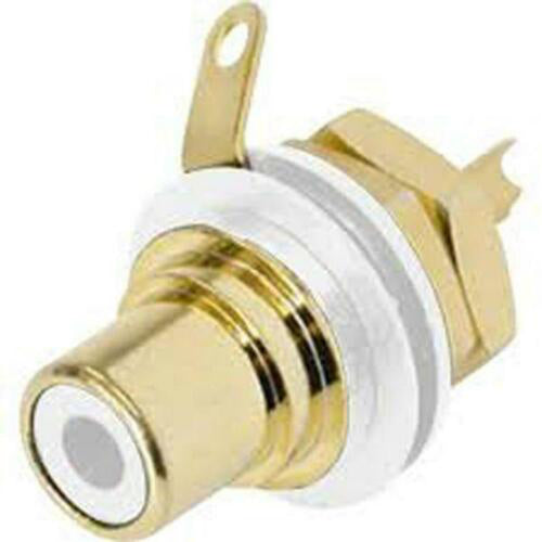 Genuine Neutrik Rean NYS367-9 Gold Plated RCA Jack Phono Chassis Socket, White