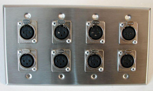 (One)  ProCraft Stainless Steel 4 Gang Plate loaded with 8 Female XLR connectors