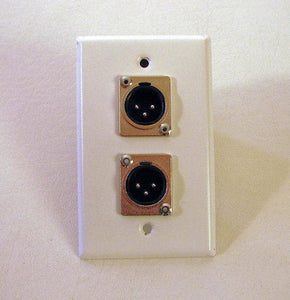 1 ProCraft Stainless Steel White Wall Plate - Two Male Mic XLR's   SPL-2XM-WH