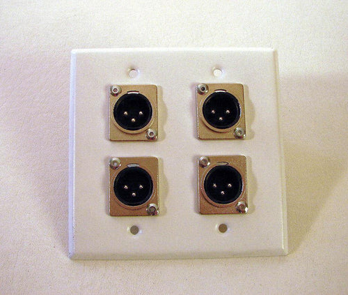 ProCraft SS 2 Gang White Wall Plate Loaded W/ Four Male XLR's DPL-4XM-WH