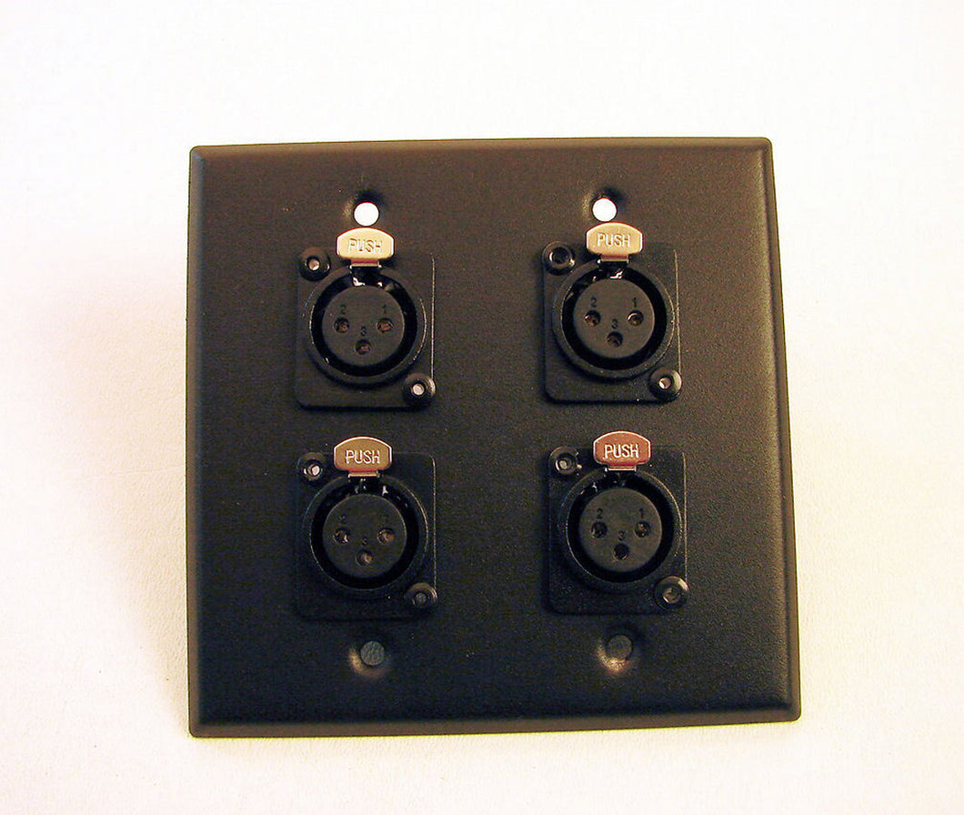 New Genuine ProCraft Stainless 2 Gang Black Plate 4 Female  XLR Mic Inputs