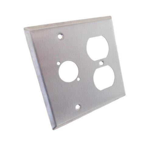 NEW ProCraft Stainless Steel 2 Gang Wall Plate/ AC Duplex 1 XLR