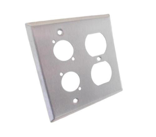 NEW ProCraft Stainless Steel 2 Gang Wall Plate/ AC Duplex 2 XLR