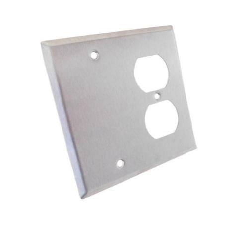 NEW Genuine ProCraft Stainless Steel 2 Gang Wall Plate W/ Offset Duplex AC