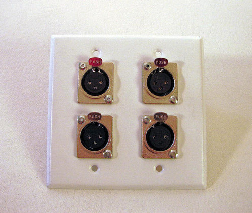 ProCraft Stainless Steel  2 Gang White Wall Plate W/ 4 Female XLR's Mic Inputs