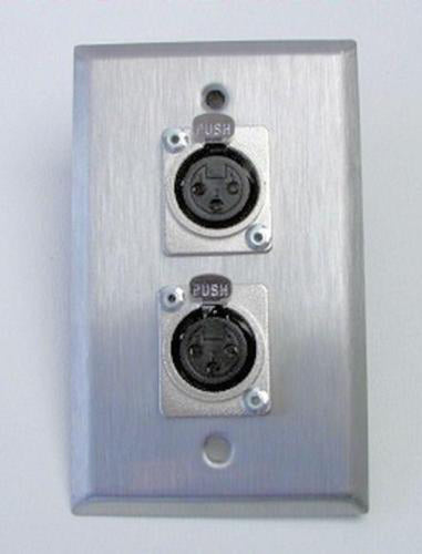 ProCraft Stainless Steel Wall Plate Loaded w/ 2 Female Mic Inputs  XLR Connector