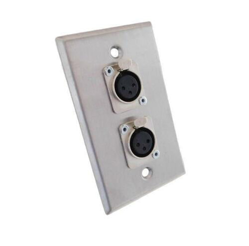 ProCraft Stainless Steel Wall Plate Loaded w/ 2 Female XLR Mic Input Connectors