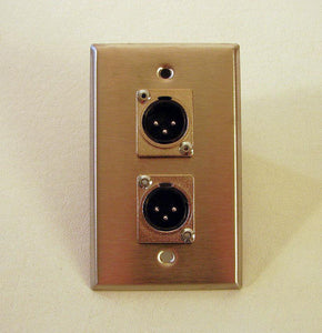 New ProCraft Stainless Steel Wall Plate - Loaded W/ Two Male XLR's  SPL-2XM-SS