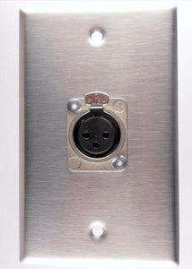 Stainless Steel Wall Plate Loaded with one NC3FD Female Neutrik XLR Connector