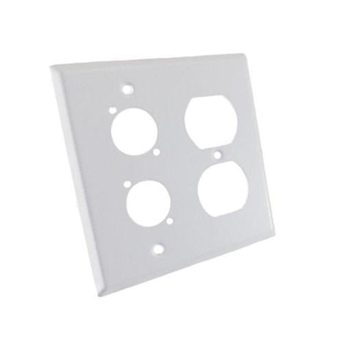 ProCraft Stainless Steel White 2 Gang Wall Plate/ AC Duplex 2 XLR
