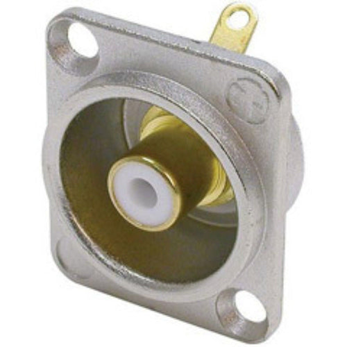 Neutrik NF2D-9 Phono RCA Socket - Nickel Panel D-shape w/Colored Washer - White