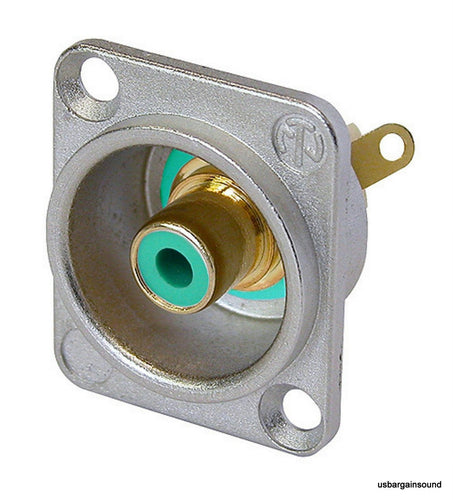 Neutrik NF2D-5 Phono RCA Socket - Nickel Panel D-shape w/Colored Washer - Green