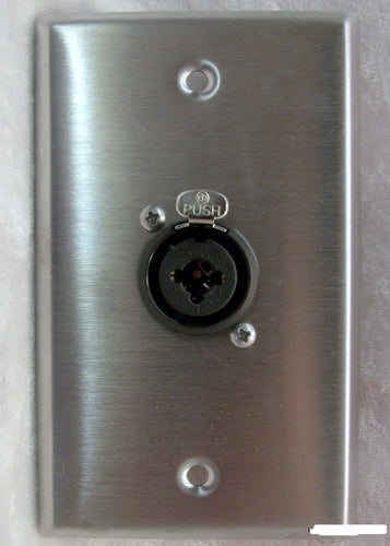 Stainless Steel Wall Plate with one Neutrik NCJ6FI-S Combo XLR/1/4