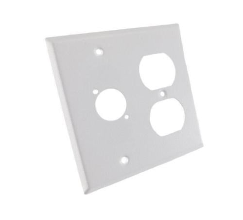 NEW ProCraft White Stainless Steel 2 Gang Wall Plate/ AC Duplex 1 XLR
