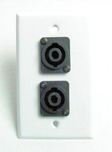 ProCraft White Stainless Steel Wall Plate W/ 2 Speakon Speaker Input Channels