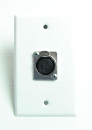 ProCraft White Stainless Wall Plate loaded w/ 1 Female Mic Input XLR connector