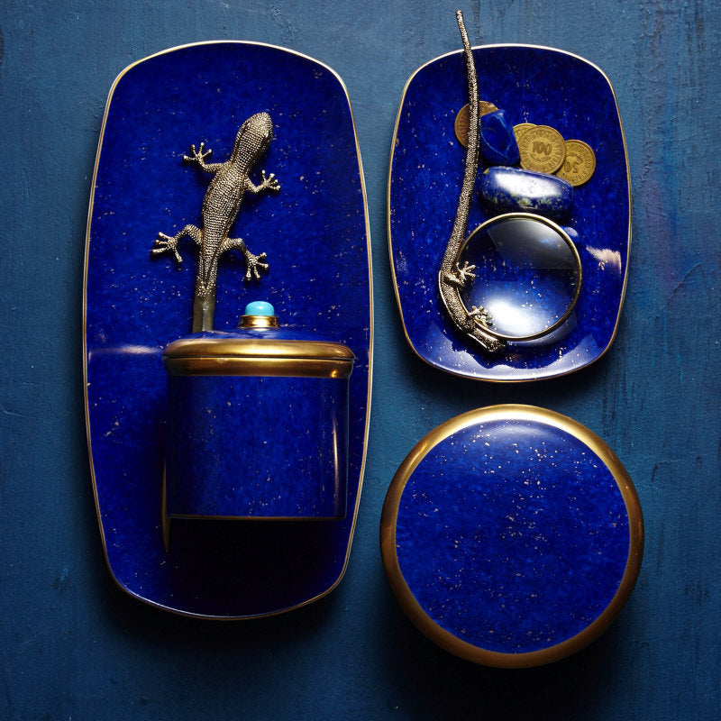 Lapis tray, candle and bowl
