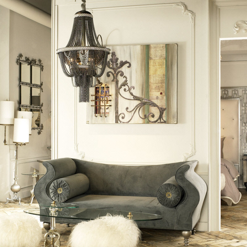 Luna Bella sofa, table, pendant chandelier and lamp