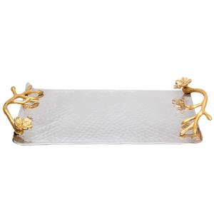 Aluminum Rectangle Tray with Floral Handle