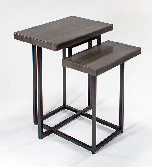 Wood and Metal Base End Table