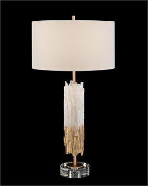 Gold Leaf Selenite Table Lamp
