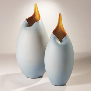 Frosted Blue Vase with Amber Casing