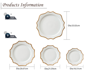 White with Gold Rim Sunflower Plate Set
