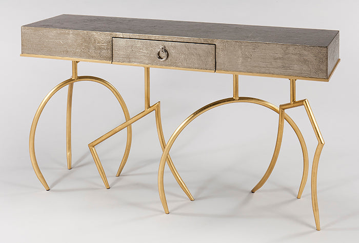 Wood and Metal Base Console Table with Glass