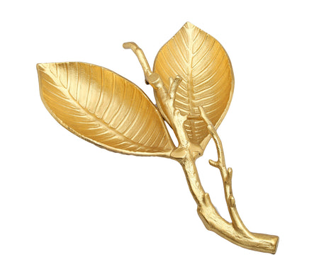 Gold Leaf Shaped Relish Dish with Vein Design