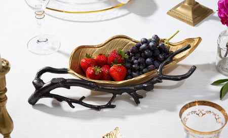 Gold Leaf Candy Dish With Black Branch