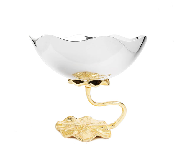 Stainless Steel Footed Bowl With Lotus Flower Design
