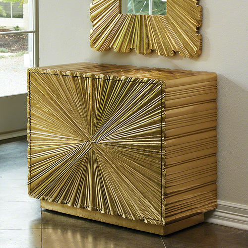 Linen Fold Two-Drawer Chest-Brass