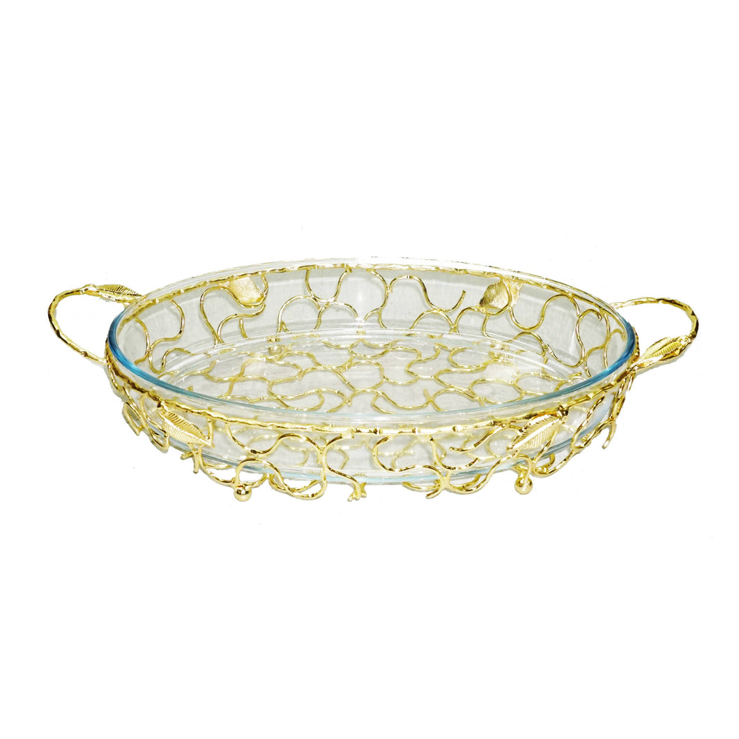 Round Gold Handled Pyrex Holder with Leaf Design