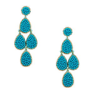 Gold Plated Metal Turquoise/Gold Swarovski Crystals Pave Earring