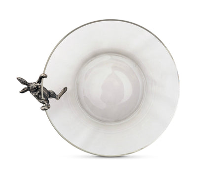Climbing Bunny Glass Serving / Salad Bowl