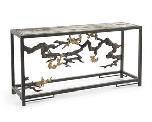 Sculpted Console Table in Antique Brass