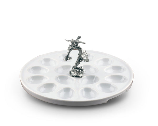 Deviled Egg Tray with Pewter Song Bird Handle